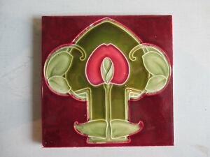 """Antique Victorian Art Nouveau Tile Red Ground. 6"""" x 6"""""""