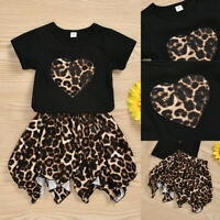 Toddler Baby Kids Girls Leopard Print T-shirt Tops+Skirt Dress Outfits Clothes A