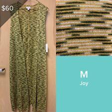 LuLaRoe Joy Vest Yellow Gold Sage Army Green Micro Stripes Soft Knit Medium NWT