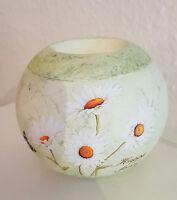 Teelichthalter Blumen Dekor / Kerzenhalter rund Deko Keramik Geschenk