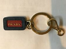 Prada blue red leather key chain with gold key ring 100% Authentic!