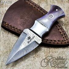 Royal Custom Forged Damascus Steel Handmade Mini Hunting Skinner Full Tang Knife