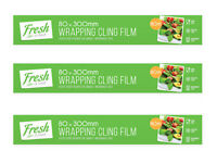 3 x Kitchen Catering Cling Film | 300mm x 80m | Food Wrap/Wrapping Catering Food