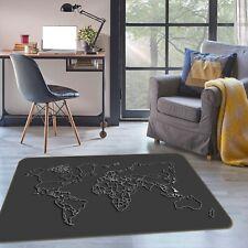 3D Black Texture ZHU202 World Map Non Slip Rug Mat Elegant Photo Carpet Amy