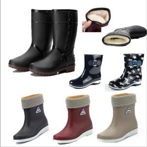Damen Wasserdicht Regenstiefel Gefüttert Gummistiefel Gummischuhe Stiefel Boots