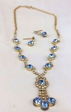 Blue Crystal Rhinestone Gold Necklace,  Earring  Set