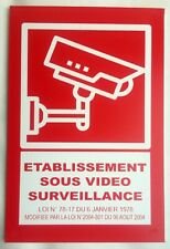 """plaque, panneau """"ETABLISSEMENT SOUS VIDEO SURVEILLANCE"""" signalétique"""