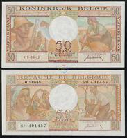 BELGIUM 50 Francs 1948 P-133a AUNC Almost Uncirculated