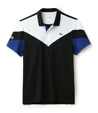 Camisa Polo Lacoste Sport-XXL T7-Negro Blanco Azul-BNWT-DH7983-RRP £ 79