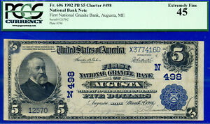 Wanted - 1902 $5 P/B CH# 498 (( 3rd Finest - Augusta, ME )) PCGS 45 # 416D-