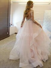 Sexy Long Sleeves Tiered Layers Organza Wedding Dress Appliques Bridal Gown 2018