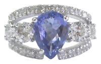Fine Gem Tanzanite Diamond WIDE White Gold Jewelry Ring 14KT 4.86Ct