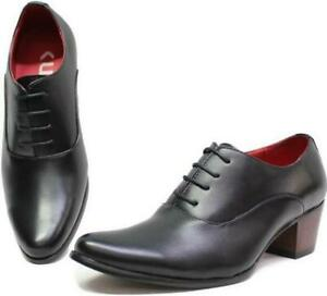 Herrenschuhe Halbschuhe Trachtenschuhe mit Absatz Tanz Party Blockabsatz Schuhe