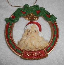 Noel Santa Claus in Wreath Christmas Holiday Ornament