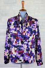 Eva Laurel Vintage 80's Silky Blouse Draped Neckline Top Shirt Purple Size 6