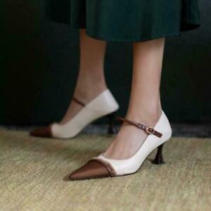 Fashion Women Pointy Toe Stilettos High Heels Pumps Leather Party Shoes Sz da@