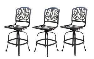 Outdoor bar stools set of 3 swivel patio aluminum furniture Elisabeth Bronze