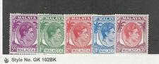 Malaya Malacca, Postage Stamp, #22-26 Mint NH, 1952, JFZ
