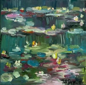 FRAMED PRINT oil painting on canvas contemporary.waterlillies box frame