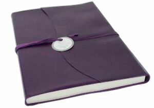 Capri Leather Journal Aubergine, A4 Plain Pages - Handmade in Italy