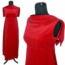 Vintage 60s RED VELVET EVENING DRESS Ball Gown Long Empire Maxi Party Holiday XS