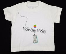 "Vtg 1980s ""Move over, Mickey"" Baby/Toddler Apple T-Shirt 12 mos deadstock nos"