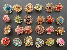Lot 24 Mixed Brooch Gold Pin Wholesale Rhinestone Crystal Wedding Bouquet DIY