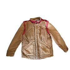 Fat Face Kids Coat Age 10-11 Years Brown Corduroy Red Zip Puffa Pockets No Hood