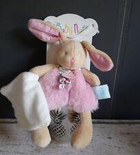 Doudou Lapin fourrure Rose fleurs Pantin Poupi Mouchoir blanc Baby Nat + cadeau
