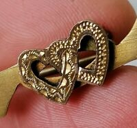 Antique Edwardian Double Heart Gold Tone Victorian Sweetheart Old Bar Brooch