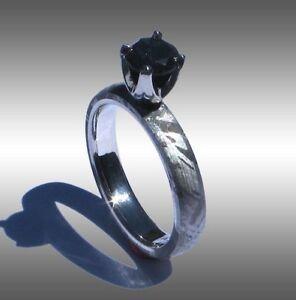 CUSTOM MADE GIBEON METEORITE & BLACK DIAMOND RING JEWELRY #073 IN PLATINUM!