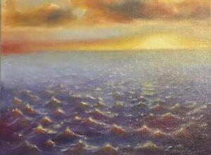 Original oil Painting ocean waves sunny Seascape art listed by artist Artettina
