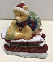 Oneida Home Sleigh  with Christmas Bear  Ceramic Hinged Trinket Box