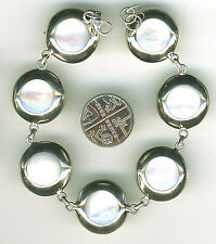 """Bracelet 925 Sterling Silver Mother of Pearl Round Disc Bracelet Length 8.1/8"""""""