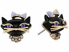 Auth New KATE SPADE Jazz Things Kitty Cat Kitten 12k Stud Earrings & Dust Cover