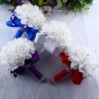 Wedding Bridal Handmade Rose Pearl Bridesmaid Bouquet Artificial Silk Flowers AU