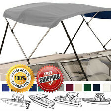 "BIMINI TOP BOAT COVER GREY 3 BOW 72""L 36""H 91""-96""W - W/ BOOT & REAR POLES"
