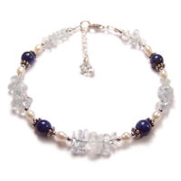 Lapis lazuli topaz and pearl Sterling silver bracelet gem stone gemstone blue