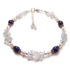 Lapis lazuli topaz and pearl Sterling silver bracelet gem stone gemstone blue