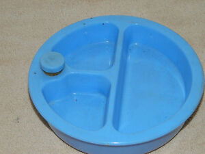 Vintage Blue Baby Divided Food Warmer Complete  with cork No Damage