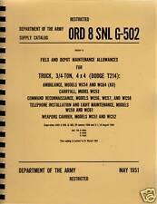 ORD 8 SNL G-502 ~ WWII ~ 3/4 TON Dodge Manual ~ Reprnt