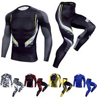 Men Compression Baselayer Tights T-Shirt Top Long Pants Gym Activewear Quick dry