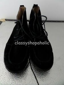 Lands End Black Suede Ankle Boots - Size 9 (42.5) - Worn Once