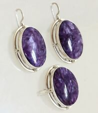 Natural Russian Charoite Stone Earrings & Ring Jewelry Set 925 Sterling Silver