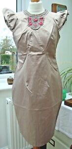Oyster Bodycon Dress -  Beaded Neckline & Bib, Frilled Sleeve  BNWT's 8,10,12,14