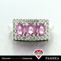 Estate Solid Platinum 1.30ctw Pink Sapphire & Diamond 0.37ctw Ring