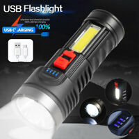 COB Light Lamp Torch with LED Flashlight USB Rechargeable Work Light Headlamp