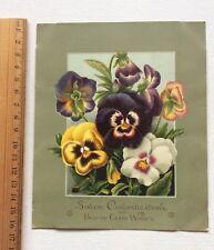 Antique Victorian Card 1881 Lithograph Pansy Copyright L Prang Old Ephemera
