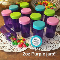 12 PURPLE JARS 2oz Party Candy Pill Bottles Doc McStuffins RX  #4314 DecoJars  *