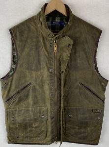 Polo Ralph Lauren Oiled Cloth Wax Cotton Leather Green Vest Plaid Lined Large